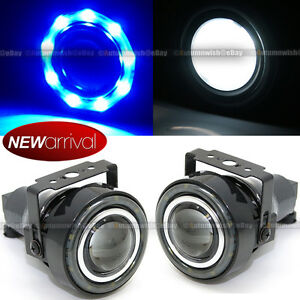 For Eclipse 3 Round Projector Fog Lamps W 9 Blue Led Halo Light Set