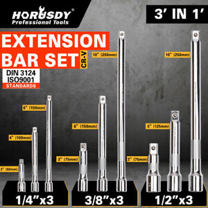 9pc 1 4 3 8 1 2 Drive Extensions Extend Bars Set Ratchet Sockets Wrenches