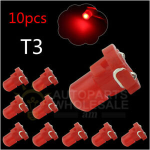 10 Red T3 New Wedge Cob Led Bulbs Instrument Panel Gauge Lamp Light 12v