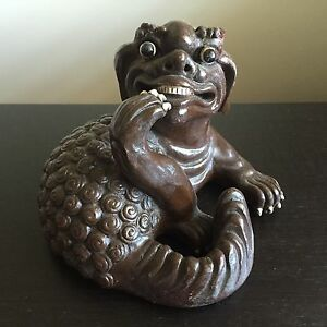 Fine Old 19th 20th C Chinese Pottery Clawed Foo Dog Lion Statue Sculpture Art