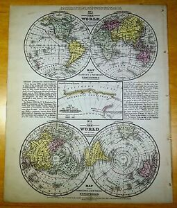 Antique Map World 1852 Us Hand Colored Mitchell Hemispheres E W N S
