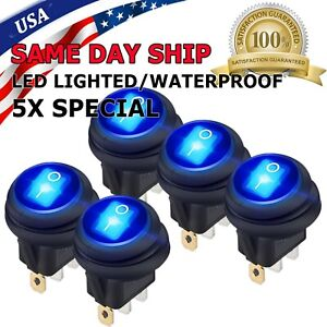 5x 12v 20a Waterproof Round On Off Rocker Switch Car Auto Boat Spst Marine Blue