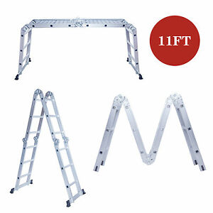Heavy Duty 11ft Aluminum Folding Step Ladder Multi Purpose Scaffold Extendable