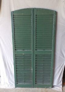 Pair Vtg Semi Arch Top House Window Wood Louvered Shutters Shabby 18x70 112 17p