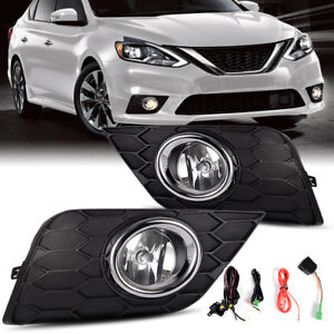For 2017 2018 Nissan Sentra Clear Front Bumper Fog Light Lamps Kit Switch Wiring