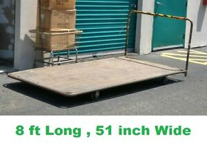 Heavy Duty 8ft Warehouse Commercial Rolling Wooden Cart 51 Inch Wide 8 Ft Long