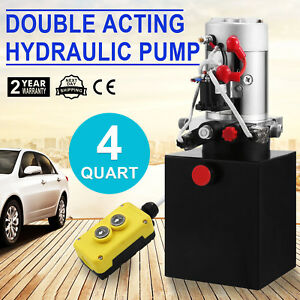 4 Quart Double Acting Hydraulic Pump Dc 12v Control Kit Dump Truck Great Good