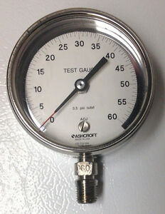 Ashcroft Pressure Gauge Type 1084 3 Dial 0 60psi Polished 316 Stainless