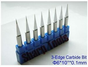 10pcs 6 0 1mm 60degree 3 edge Cnc Router Bits Pcb Wood Metal