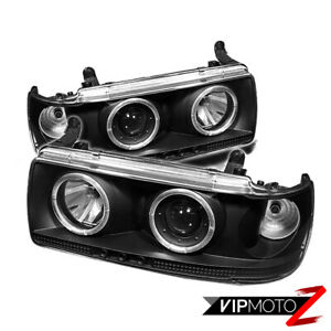 For 91 97 Toyota Land Cruiser Suv 4x4 Black Halo Angel Projector Headlights Lamp