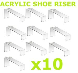 Clear Slanted Shoe Acrylic Riser Display Holder Stand 9 l X 4 w X 7 h Set 10 Pcs