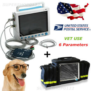 Usa Vital Signs Veterinary Patient Monitor Ecg nibp pr spo2 temp resp handbag