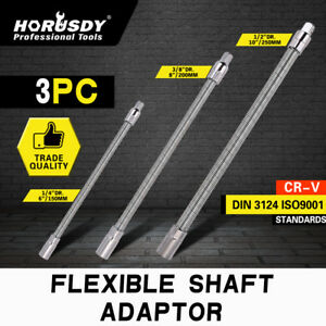 3pc Flexible Socket Extension Bar Shaft Set 1 2 X10 1 4 X6 3 8 x8 Ratchet