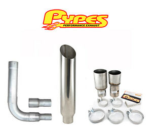 8 Miter Cut Single Stack Stainless Pypes Exhaust Kit For Chevy 2500 3500 Diesel