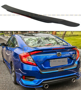 For 2016 18 Honda Civic 10th Gen Rs Style Rear Trunk Spoiler Wing W Led Brake