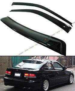 96 2000 Honda Civic 2dr Coupe Jdm Smoke Rear Roof Window Side Door Visor Combo