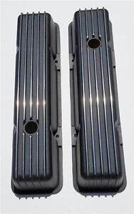 Tall Chevy Nostalgic Black Aluminum Finned Tall Valve Covers 350 400 Sbc Vintage