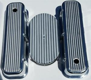 Big Block Chevy Finned Valve Covers 15 Air Cleaner Polished Aluminum Vintage