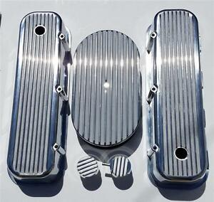 Bbc Chevy Finned Valve Covers 15 Air Cleaner Polished Aluminum Breather Pcv