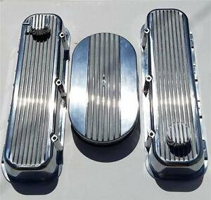 Bbc Chevy Finned Valve Covers 15 Air Cleaner Polished Aluminum Breather Combo
