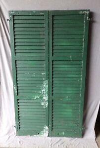 Pair Antique Window Wood Louvered Shutters Shabby Vtg Chic 72x20 202 17p