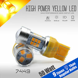 50w 7443 Led Amber Yellow Front Turn Signal Parking Drl High Power Light Bulbs