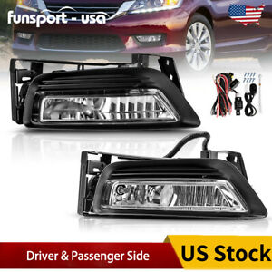 For 2013 2015 Honda Accord Sedan 4dr Clear Bumper Fog Light Lamps Bulbs W Switch