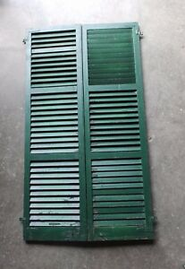 Pair Antique Window Shutters Wood Louvered Shabby Vtg Chic 72x20 209 17p