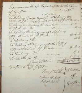 1786 Grafton Massachusetts George A Negro Handwritten Manuscript Lot Slave