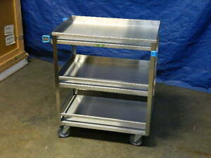 Lakeside 526 Stainless Steel Utility Cart 3 shelf W Guard Rails 33 X 31 X 19