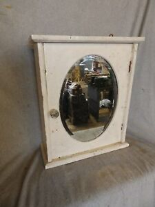 Antique Wood Surface Wall Mount Medicine Cabinet Oval Beveled Mirror 217 17p