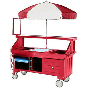 Cambro Cvc72158 Hot Red Camcruiser Vending Cart And Kiosk With Umbrella