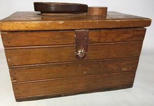 Antique Vtg Wood Homemade Shoeshine Box 12 X 7 5 X 6 5 Country Primitive Crate