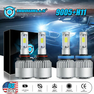 2 Pair 9005 H11 Combo Total 3000w 450000lm Led Headlight Kit Light Bulbs 6000k