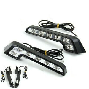 Driving Lamp Fog 12v Drl Daytime Running Light White Led Universal Car Auto 2x U
