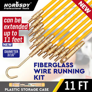 3 16 X 11 Fiberglass Wire Cable Running Rods Fish Pulling Wire Holder Kit