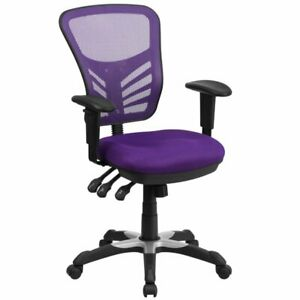 Flash Furniture Mid Back Mesh Swivel Office Chair In Purple