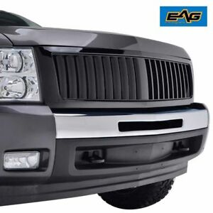 07 13 Chevrolet Silverado 1500 Grille Glossy Black Abs Vertical Replacement