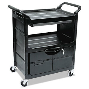 Rubbermaid Service Cart With Lockable Doors Sliding Drawer Rcp345700bla