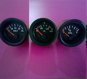 El Gauges 52mm 3pc Oil Temp Gauge Volt Gauge Fuel Gauge Black Face