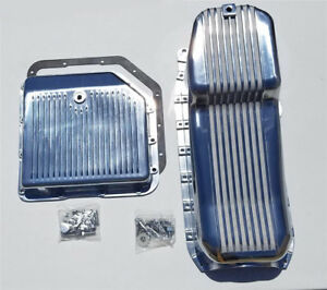 1986 up Chevy Finned Aluminum Oil Pan Turbo 350 Transmission Pan Th 350 Sbc