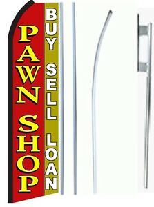 Pawn Shop King Size Swooper Flag Sign W complete Set