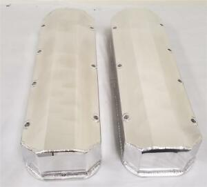Big Block Chevy Bbc Polished Fabricated Aluminum Valve Covers 396 427 No Hole