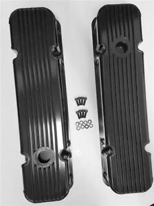 Pontiac V8 326 455 Nostalgic Black Aluminum Finned Tall Valve Covers W Hole