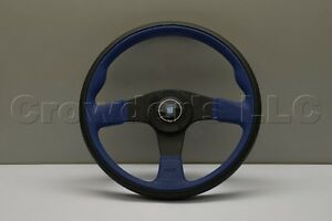 Nardi Twin Line Steering Wheel 350mm Black Leather Blue Perforated Leather