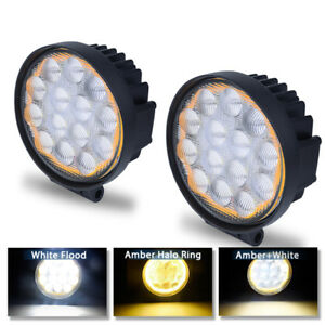 2x Amber Halo 5inch 60w Led Pods Light Bumper Fog Driving Atv Jeep Offroad Round