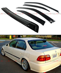 96 2000 Honda Civic 4dr Sedan Jdm Smoke Rear Roof Window Side Door Visor Combo