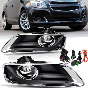 For 2013 2015 Chevy Malibu Clear Front Bumper Fog Lights Lamps Switch Wiring Kit