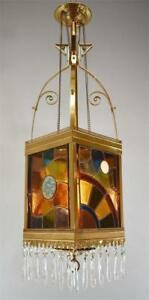 Antique Victorian Brass Stained Glass Hall Entrance Chandelier Electrified Oil