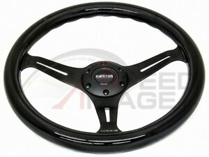 Nrg 350mm Black Steering Wheel 3 Spoke Center Black Wood St 015bk bk Classic